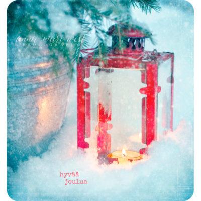 Lyhty punainen lumi joulukortti West